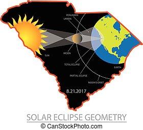 2017 Solar Eclipse Geometry Across South Carolina Cities Map Illustration