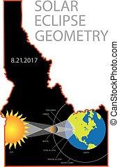 2017 Solar Eclipse Geometry Idaho State Map Illustration