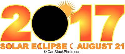 2017 Solar Eclipse Totality across America USA numeral and text color illustration