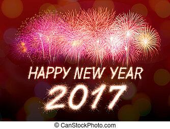 2017 - Happy new year 2017 written with Sparkle firecracker...