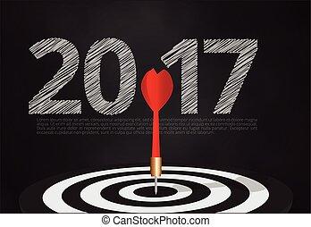 2017, taureau, cible, succès, cible, nombre, oeil