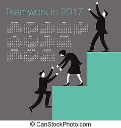 2017, teamwork, kalender, creatief