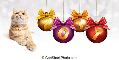 2017 text ginger cat with christmas balls with ribbon bow