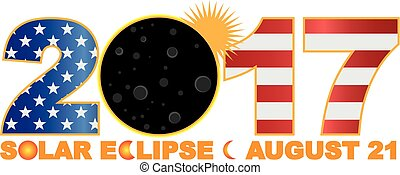 2017 Toal Solar Eclipse Over USA Numeral Illustration