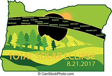 2017 Total Solar Eclipse Across Oregon Cities Map Illustration