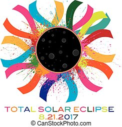 2017 Total Solar Eclipse Corona Text Color Illustration -...
