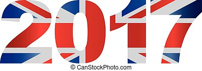 2017 Union Jack Flag Numbers Outline Illustration