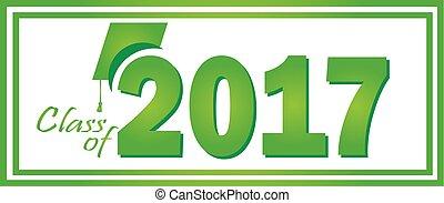 2017, verde, classe, graduazione