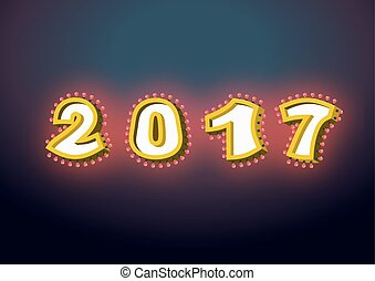 2017 with lamps. garland for New year and Christmas. Retro pointer with light bulb. Luminous signboard. Glowing numbers. Vintage shiny lettering bulbs.