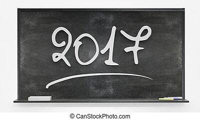 2017 written on blackboard