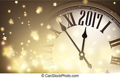 2017 year banner with clock.