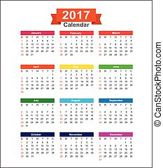 2017  Year calendar isolated on white background vector illustration
