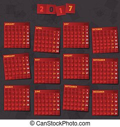 2017 Year Calendar on dark background. - Smartly grouped and...