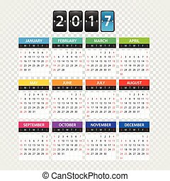 2017 year color calendar template. Flat design template isolated on transparent background