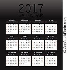 2017 year color calendar template. Flat design template