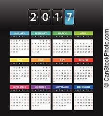 2017 year color calendar template. Flat design template