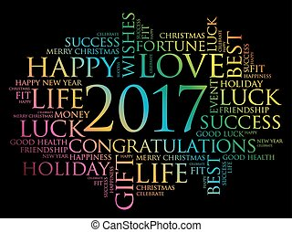 2017 year greeting word cloud collage, Happy New Year...