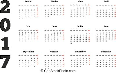 2017 year simple calendar on french language, isolated on white