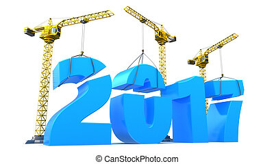 2017 year - 3d illustration of 2017 year construction over...