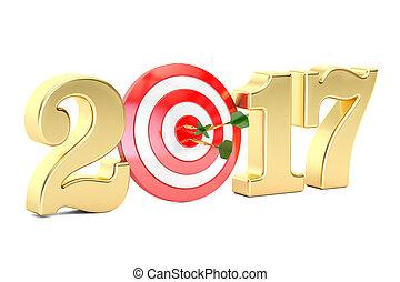 2017 year target concept, 3D rendering