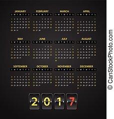 2017 year vector calendar template. Flat design template. Calendar for 2017 year