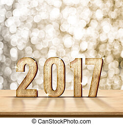 2017 year wood texture on plain wood table top with gold sparkling bokeh wall, Holiday concept, leave space for adding your content