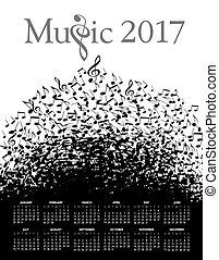 2017, zene, naptár