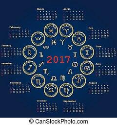 2017, zodiaque, calendrier, signes