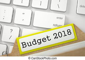 2018., índice, 3d., presupuesto, tarjeta