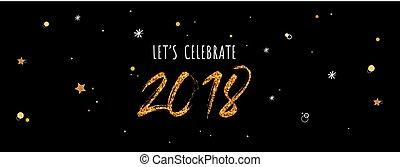 2018, εορτασμόs , σημαία , ., χρυσός , αριθμοί , επάνω , νύκτα , μαύρο , φόντο.