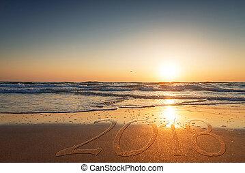 2018, написано, на, , песок, of, , beach.