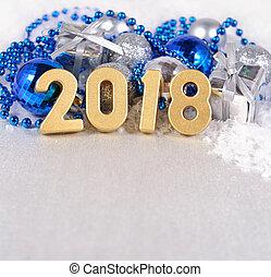 2018, 年, 黃金, 數字, 上, the, 背景, ......的, 圣誕節裝飾