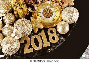 2018, 數字, 由于, 新年, 主題, 金, 舞台裝飾