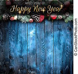 2018, 新年快樂, 以及, 歡樂的聖誕節, 框架, 由于, 雪, 以及, 真正, 木頭