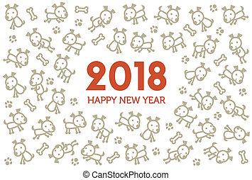 2018, 新年, カード, ∥で∥, かわいい, 犬