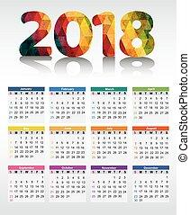 2018., 日曆, 矢量, 插圖