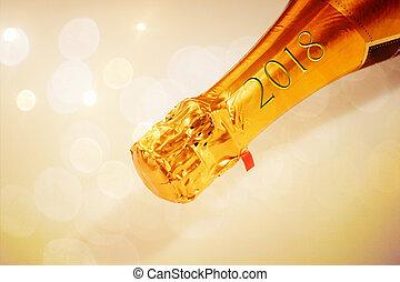 2018, 金, シャンペン, 首, 碑文