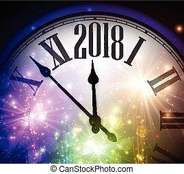 2018, 새해, 배경, 와, clock.