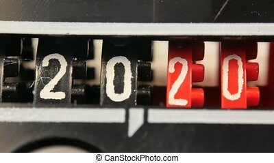 2018-2025 new year counter numbers. Set of digital countdown timer.
