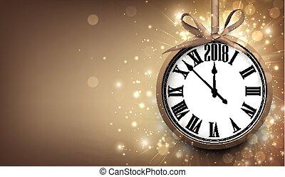 2018, año nuevo, plano de fondo, con, clock.