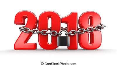 2018 and lock (clipping path included)