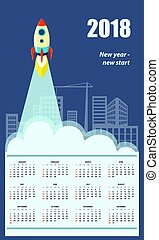 2018, anglaise, business, calendrier mural
