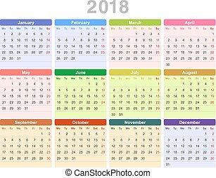 2018, ano, anual, calendário, (monday, primeiro, english)