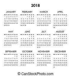 2018, ano, calendário