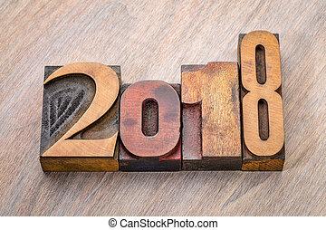 2018, ano, número, abstratos, em, letterpress, madeira, tipo