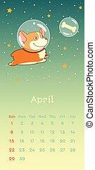 2018 april calendar with welsh corgi dog