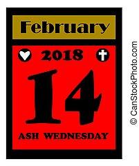 2018 Ash Wednesday calendar icon - 2018 Ash Wednesday icon...