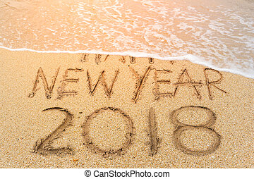2018 beach - New Year 2018 is coming concept. Happy New Year...