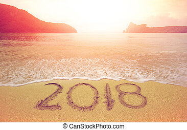 2018 beach - New Year 2018 is coming concept. wave coming to...