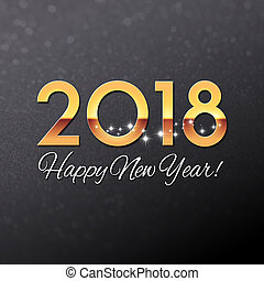 2018 black and gold Greeting card - Gold year 2018...